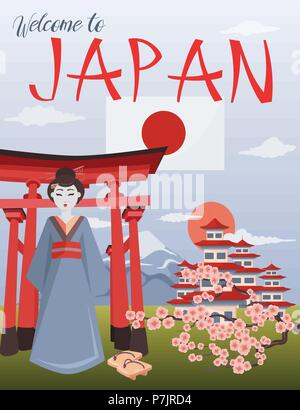 Welcome to Japan poster. Japanese symbols vector illustration.  Colorful icons of Japan culture. Geisha, Fujiyama, Torii and sacura branch composition - Stock Photo