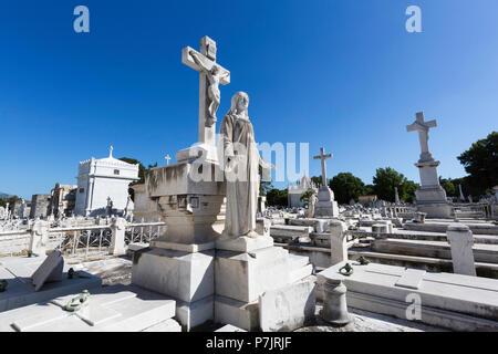 Grave site at the Cementerio Cristóbal Colón in Old Havana, Cuba - Stock Photo