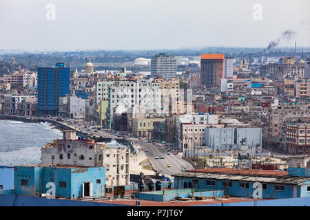 Cityscape view looking east of the city of Havana, taken from the roof of the Hotel Nacional in Vedado, Cuba. - Stock Photo