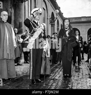 Vatican the Royals of Thailand, Bhumibol Adulyadej and Sirikit Kitigakara, on a visit to Pope John XXIII on October 1, 1960 - Stock Photo