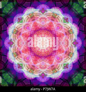 Photographic flower mandala, pink, purple, green, - Stock Photo