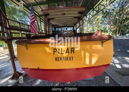 Ernest Hemingway's boat named Pilar at Finca VigÃa, in San Francisco de Paula Ward in Havana, Cuba - Stock Photo