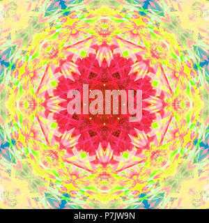 Photographic flower mandala, red, yellow, green, blue, - Stock Photo