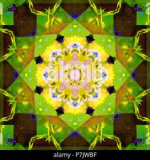 Photographic flower mandala, green, brown, yellow, - Stock Photo