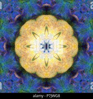 Photographic flower mandala, yellow, blue, green,