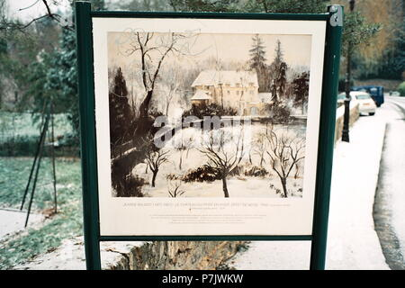AJAXNETPHOTO. 2009.- LOUVECIENNES,FRANCE. SCENE SUBJECT OF A VIEW PAINTED BY JEANNE BAUDOT 1877 - 1957 - LE CHATEAU DU PONT EN HIVER, EFFET DE NEIGE, 1948.' BRIDGE HOUSE IN WINTER, EFFECT OF SNOW. PHOTO:JONATHAN EASTLAND/AJAX REF:TC2587_26_25A - Stock Photo