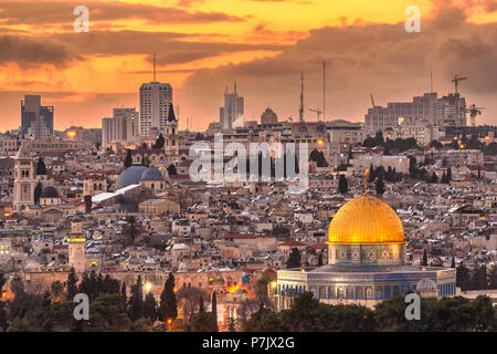 Jerusalem, Israel old city skyline at dusk from Mount of Olives. - Stock Photo
