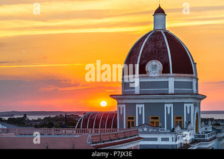 Antiguo Ayuntamiento, home of the provincial government building in Cienfuegos at sunset, Cuba. - Stock Photo