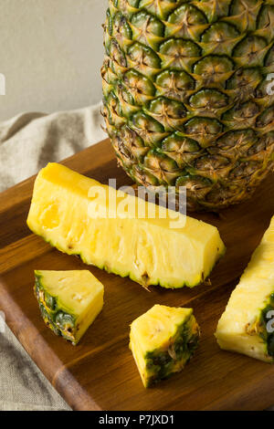 Raw Yellow Organic Pineapple Slices Ready to Eat - Stock Photo