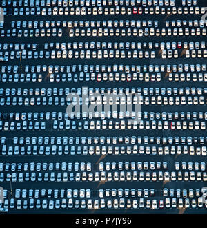 New car parking, VW, Porsche, Audi, Helf Automobile Logistics GmbH, Stauderstraße Essen, car dump, Neuwagenhalde, sales of cars, giant parking lot for new cars, Essen, Ruhrgebiet, North Rhine-Westphalia, Germany - Stock Photo
