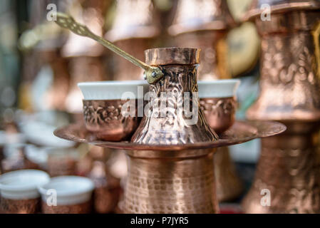 Traditional handcrafted copper coffee pots, Sarajevo, Bosnia and Herzegovina