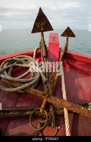 Rusty anchor at the bow of the ferry to the Banyak Islands - Stock Photo