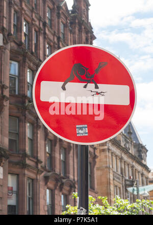 Clet Abraham street art road sign title 'The Clash'  on Buchanan Street, Glasgow, Scotland, UK - Stock Photo