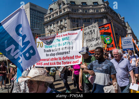 NHS 70th Anniversary March organised by People's Assembly, London, UK, 30/06/2018 - Stock Photo