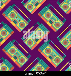 Boombox retro pattern seamless. tape recorder Vector background. Disco stereo texture - Stock Photo
