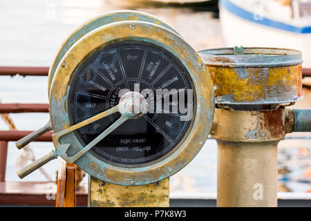 Old ship fitting, ship throttle control of brass, Chania, Europe, Crete, Greece - Stock Photo