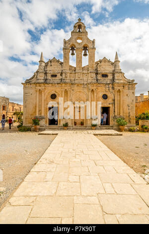Monastic Church Greek Orthodox two-nave church, National Monument of Crete in the struggle for independence, Moni Arkadi Monastery, Crete, Greece, Europe - Stock Photo