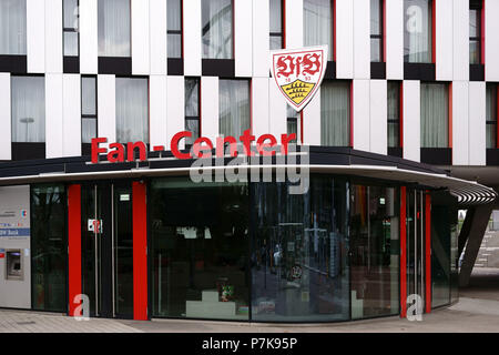 The showcase of the fan center of the VFB Stuttgart at the Mercedes-Benz Arena with the club logo above the entrance, - Stock Photo