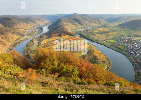 View from the summit cross to the memorial of prisoners of war above Bremm to the Moselle loop, Rhineland-Palatinate, Germany - Stock Photo