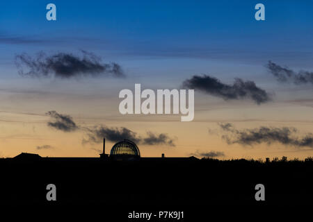 Germany, Lower Saxony, East Frisia, Juist, town silhouette at the blue hour. - Stock Photo