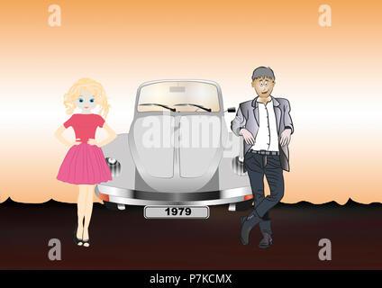 VW Beetle, couple, vector graphics, illustration - Stock Photo