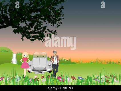 Spring, VW Beetle, couple, Vector illustration, illustration - Stock Photo