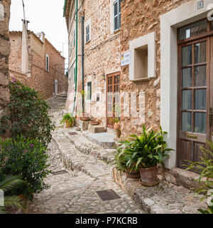 Alley in Fornalutx, Mallorca, Balearic Islands, Spain - Stock Photo
