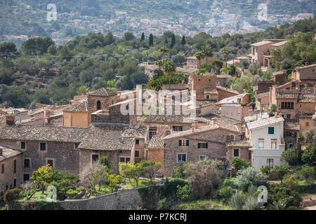 View on Fornalutx, Mallorca, Balearic Islands, Spain - Stock Photo