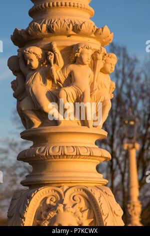 Germany, Mecklenburg-Western Pomerania, Schwerin, castle park, pillar, detail - Stock Photo