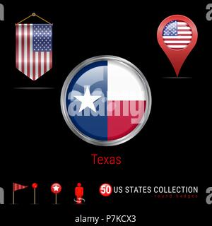 Round Chrome Vector Badge with Texas US State Flag. Pennant Flag of USA. Map Pointer - USA. Map Navigation Icons - Stock Photo