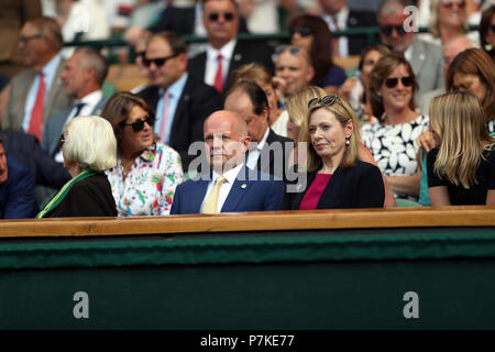 London, UK. 6th July 2018. Guest attend day five of the Wimbledon Tennis Championships at the All England Lawn Tennis and Croquet Club on July 6, 2018 in London, England  People:  Guest Credit: Storms Media Group/Alamy Live News - Stock Photo