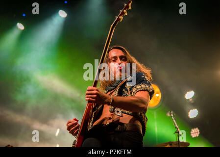 Toronto, Ontario, Canada. 6th July, 2018. Guitarist JAKE KISZKA of American rock band 'Greta Van Fleet' performed sold out show at Rebel club in Toronto. Credit: Igor Vidyashev/ZUMA Wire/Alamy Live News - Stock Photo