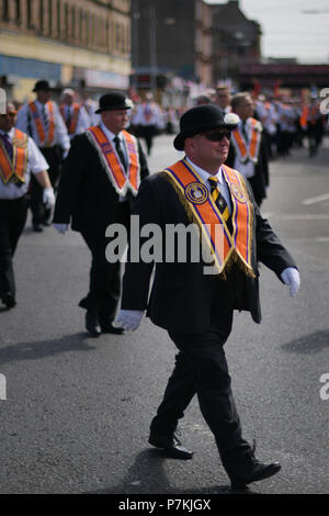Glasgow, UK. 7th July 2018. Orange Order bands march through the city in celebration of Prince William of Orange's victory over King James II at the Battle of the Boyne in 1690. credit steven scott taylor / alamy live news - Stock Photo