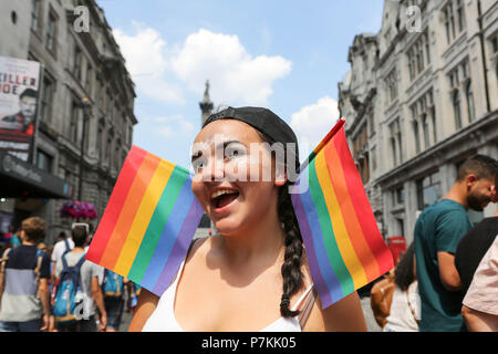 London, UK. 7th July, 2018. Spectators and participants at the London Pride event in Central London. Penelope Barritt/Alamy Live News - Stock Photo