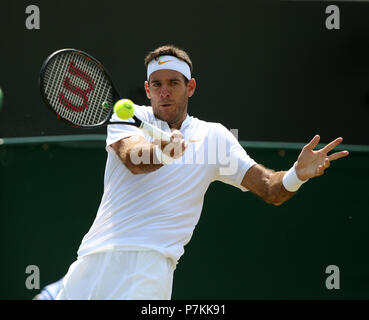 London, UK. 7th July 2018. Juan Martin Del Potro The Wimbledon Championships 2018 The Wimbledon Championships 2018 The All England Tennis Club Wimbledon, London, England 07 July 2018 Credit: Allstar Picture Library/Alamy Live News - Stock Photo