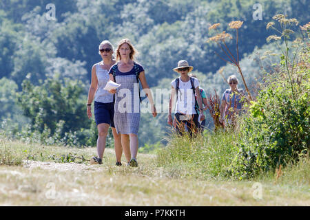 Bath, UK, 7th July, 2018.  As Bath enjoys another very hot and sunny day a group of women are pictured walking in Bathwick Meadow. Credit: lynchpics/Alamy Live News - Stock Photo