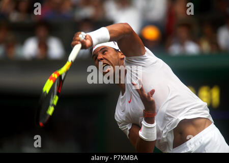 London, UK. 7th July 2018.  Wimbledon Tennis: Spain's Rafael Nadal serving to Alex De Minaur of Australia during their third round match at Wimbledon today. Credit: Adam Stoltman/Alamy Live News - Stock Photo