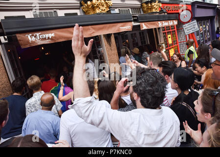 Soho, London, UK. 7th July 2018. England fans at De Hems bar in Soho  watching the match between England and Sweden Credit: Matthew Chattle/Alamy Live News - Stock Photo