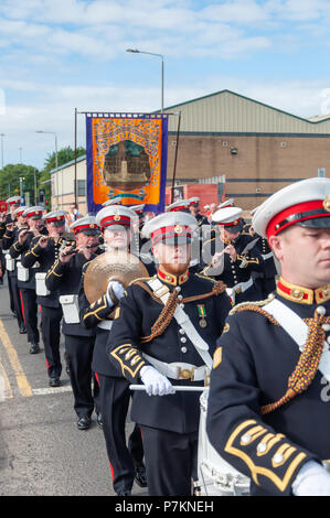 Glasgow, Scotland, UK. 7th July, 2018. Marching band members taking part in the annual Orange Walk through the streets of the city to mark the victory of Prince William of Orange over King James II at the Battle of the Boyne in 1690. Credit: Skully/Alamy Live News - Stock Photo
