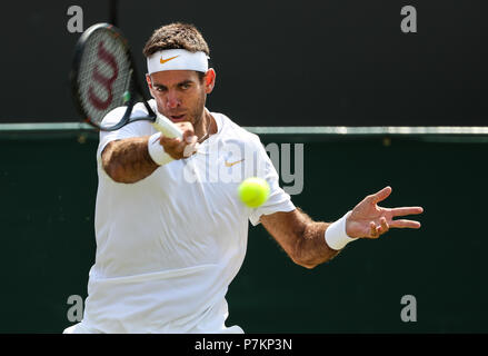 London, UK. 7th July 2018.  Juan Martin Del Potro of Argentina returns the ball during the men's singles third round match against Benoit Paire of France at the Wimbledon Championships 2018 in London, Britain, July 7, 2018. Juan Martin Del Potro won 3-0. (Xinhua/Tang Shi) Credit: Xinhua/Alamy Live News Credit: Xinhua/Alamy Live News - Stock Photo
