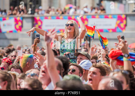 London, UK. 7th July 2018. London, UK. 7th July 2018. The crowd, in Trafalgar Square, responds as they hear England have gone one nil up  - The London Pride parade and event in Trafalgar Square. Credit: Guy Bell/Alamy Live News Credit: Guy Bell/Alamy Live News - Stock Photo