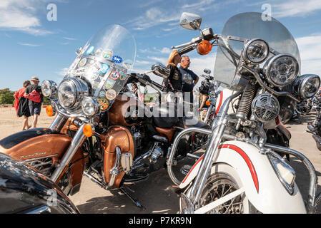 Prague, Czech Republic. 7th July 2018. Harley Davidson 115th Anniversary Prague, 7 July 2018 motorbike parade gathering Credit: Klara Vaculikova/Alamy Live News - Stock Photo