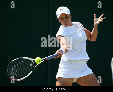 London, UK. 7th July 2018. Ashleigh Barty The Wimbledon Championships 2018 The Wimbledon Championships 2018 The All England Tennis Club Wimbledon, London, England 07 July 2018 Credit: Allstar Picture Library/Alamy Live News - Stock Photo