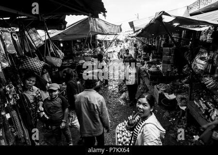 Market scene on the market square of Kutacane - Stock Photo
