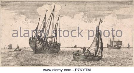 Mooring of the mail boat, print maker: Joost van Geel attributed to, Jacob Quack, 1665. - Stock Photo