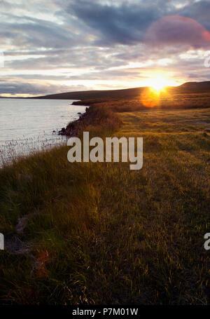 Hill, lake, Svinavatn, Iceland, landscape - Stock Photo