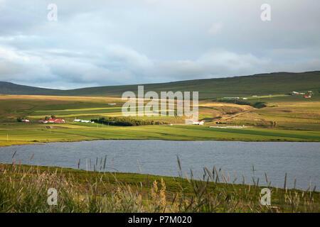 Hill, house, Svinavatn, Iceland, landscape - Stock Photo