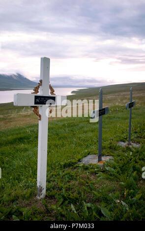 Hill, lake, Svinavatn, cemetery, Iceland - Stock Photo