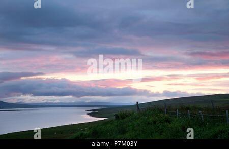 Mountains, lake, Svinavatn, Iceland, landscape - Stock Photo