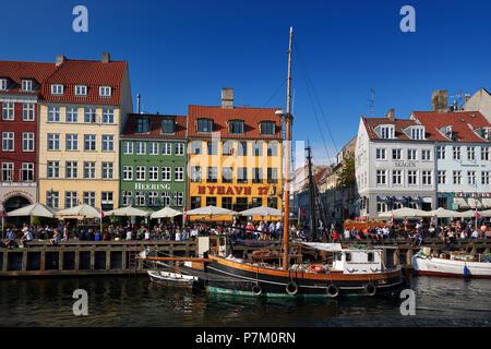 touristic distric nyhavn in capital of denmark copenhagen - Stock Photo